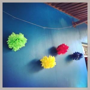 hanging paper pom poms